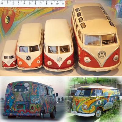 VW HIPPIEBUS årgang 1962 in size 1:32 (medium - brown)